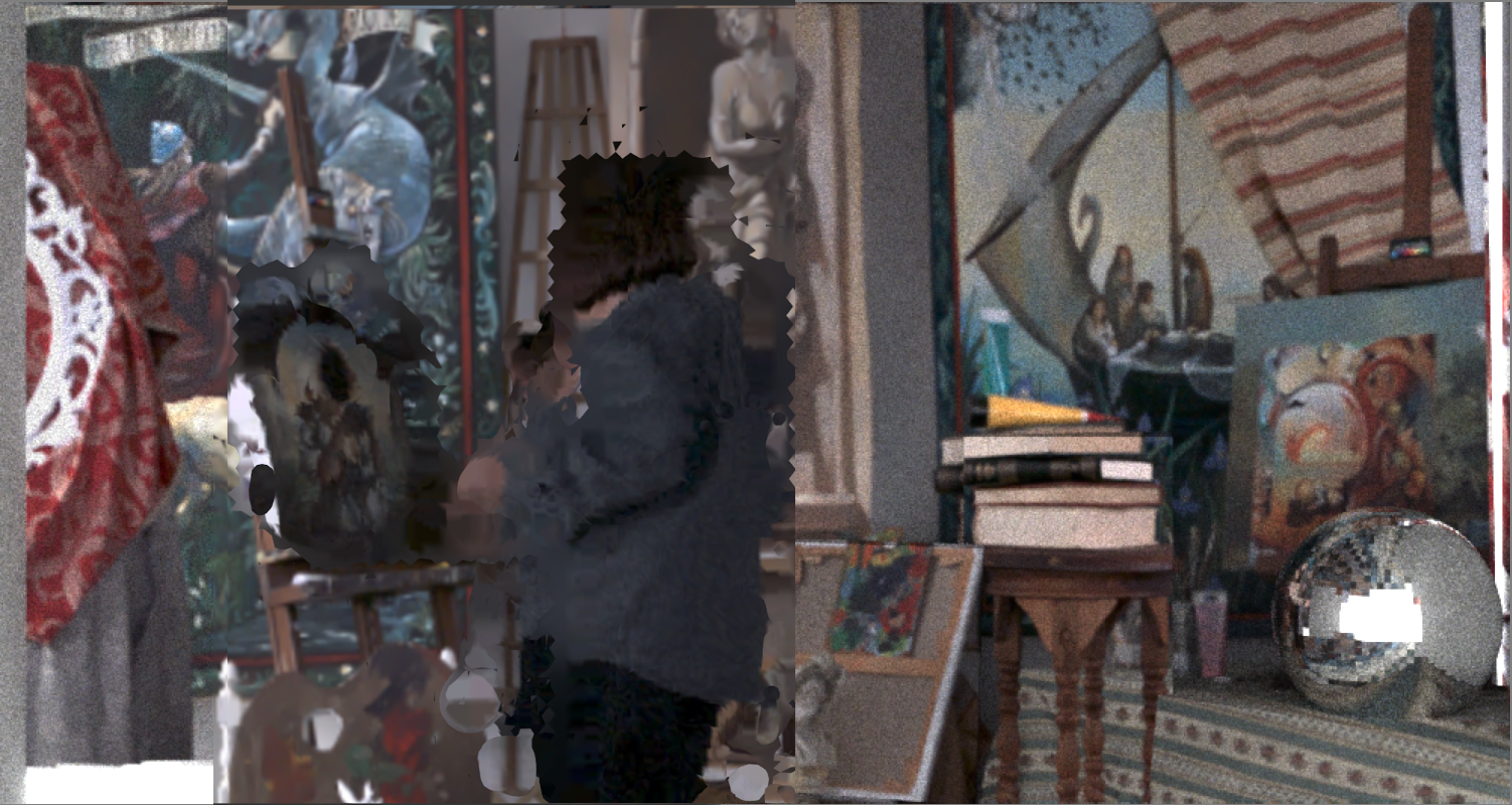 The sphere on the right is a fake object while the real painter is reconstructed from the original video